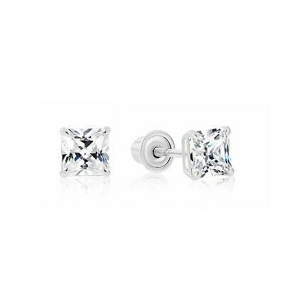 1.5CT Princess Cut Created Diamond Square Stud Screwback Earrings 14K White Gold