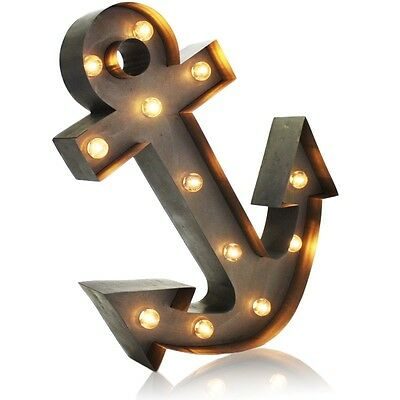 Vintage Anchor Marquee Light Lamp Table Wall Art