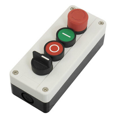 Momentary 3 Postion Selector Red Green Emergency Stop Pushbutton Switch Station