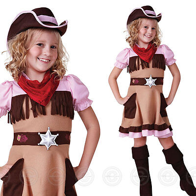 Cowgirl Cutie Girls Fancy Dress Costume Childs Wild West Kids New Western 4 7 10