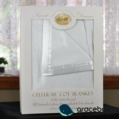 100% Cotton White Cellular Baby Cot Blanket 120x150cm Gift Pack