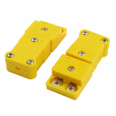 2pcs SMPW-K-M/F K Type Thermometer Thermocouple Wire Cable Connector Yellow
