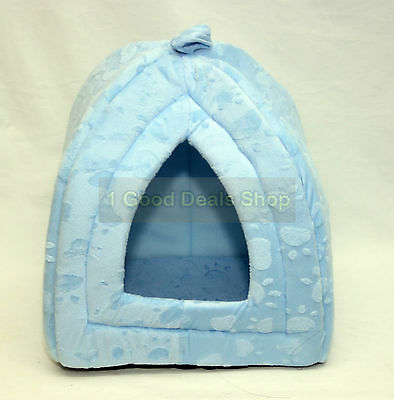 Pet Dog Cat Warm Fleece Winter Bed Igloo House Soft Luxury Basket For Pets Blue