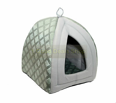 Pet Dog Cat Warm Fleece Winter Bed Igloo House Soft Luxury Basket Pets Grey ND