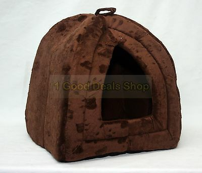 Pet Dog Cat Warm Fleece Winter Bed Igloo House Soft Luxury Basket For Pets Brown