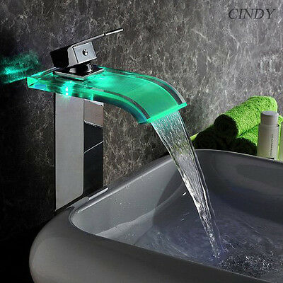 LED Bathroom Sink Faucet Vessel Waterfall Water Flow Chrome One Hole/Handle