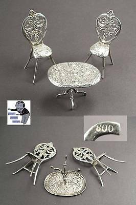 Antique miniature chair and table in 800 silver #