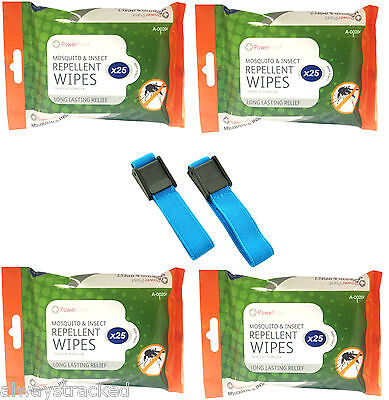 New Anti Mosquito Repellent Wrist Bands & Or 100  Mosquito Repellent Wipes Deet
