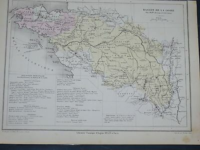 1874 Original Antique French  MAP FRANCE Lorie River Basin