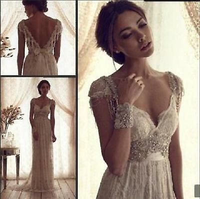 New White/ Ivory Wedding Dress Lace Bridal Gown Size 6-8-10-12-14-16-18++