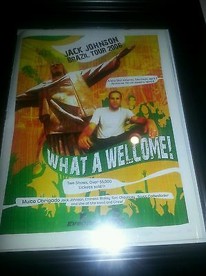 Jack Johnson Brazil Tour 2006 Framed Promo Ad! Printed Once!