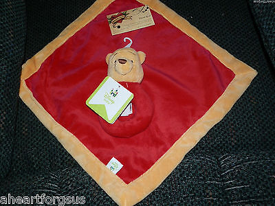 Disney SECURITY BLANKET WINNIE POOH W/ ATTACHED RATTLE TOY RED GOLD LOVEY NWT