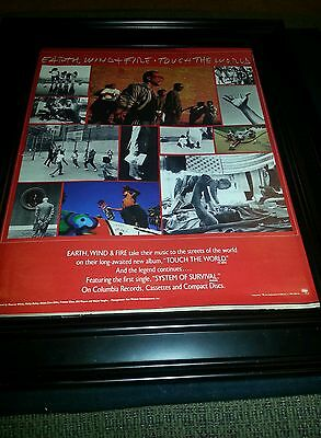 Earth, Wind, and Fire Touch The World Rare Original Promo Poster Ad Framed!
