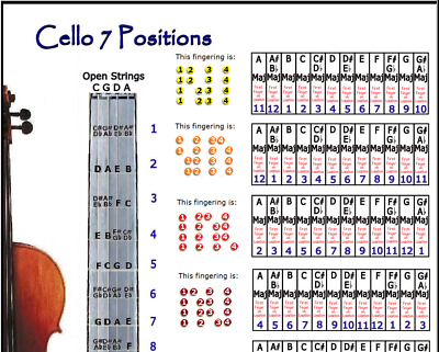 Cello 7 Hand Positions Small Chart - Improvise In Any Key !