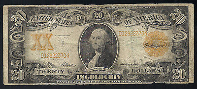 1906 $20 Twenty Dollar Gold Certificate Currency Note *fine*