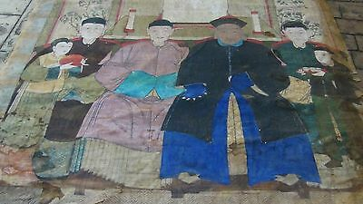 18c VERY OLD AND RARE  CHINESE ANCESTOR INK &GOUACHE ON FABRIC PAINTING