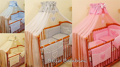 7p BABY BEDDING SET /BUMPER/CANOPY /HOLDER to fit COT(120/60) or COTBED(140/70 )