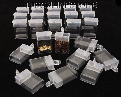"""Pack of 25 Rectangle Clear Plastic Storage Tubes With Flip Tops 1 7/8"""""""