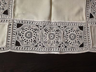 Lovely Vintage Handmade Square Tablecloth with Beautiful Cotton Crochet Lace