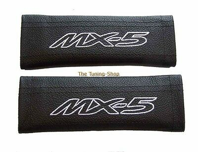 2x SEAT BELT COVERS PADS SHOULDER LEATHER WHITE STITCH EMBROIDERY MX-5 for Mazda