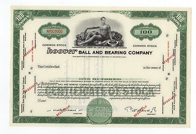 SPECIMEN - Hoover Ball and Bearing Company Stock Certificate