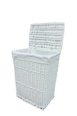 White Large Wicker Laundry/Linen Basket With Lining Ideal For Home 11-001L
