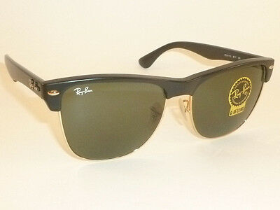 New RAY BAN Sunglasses CLUBMASTER OVERSIZED Black Frame RB 4175 877  G-15 Lenses