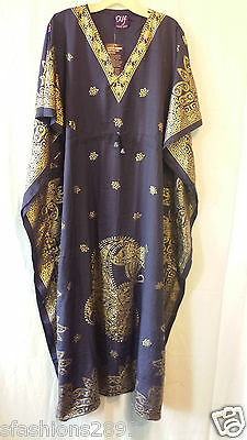 Women's Kaftan Long Dress Gown African Ethnic Dashiki Boho One Size Plus Navy
