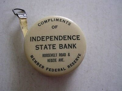 1924 Celluloid Adv Tape Measure Independence St Bank Roosevelt/Kedzie Chicago IL
