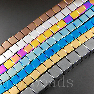 """Hematite Gemstone Cube Square Beads Silver Gold 2mm 3mm 4mm 6mm 8mm 10mm 15.5"""""""