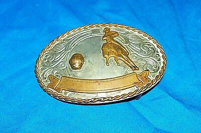 Vintage Nickel Silver Cowboy Rodeo Belt Buckle Western Champ Barrel Racer Racing
