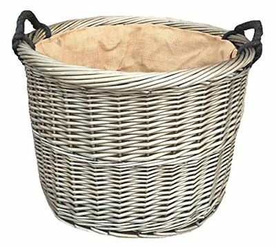 Delux Wicker Willow Basket Round Storage with Handle Log Toy Laundry Hamper grey