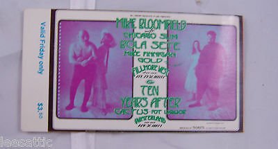 ticket BG278 1971,mike bloomfield,ten years after,bola sette... bill graham  S9