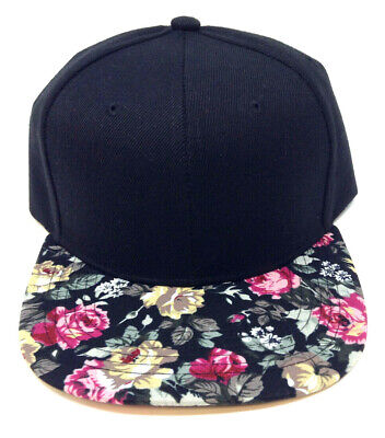 2 Tone Black Crown Floral Print Bill Snapback Hat Cap Flat Bill Flower New  Blank 6bfc7b19b75d
