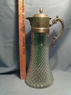 Vintage Diamond Cut Glass & Silverplate Wine Carafe Decanter Center Chiller