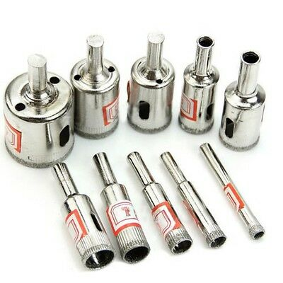 Hot 10Pc Diamond Coated Core Hole Saw Drill Bit Set Tools For Tiles Marble Glass