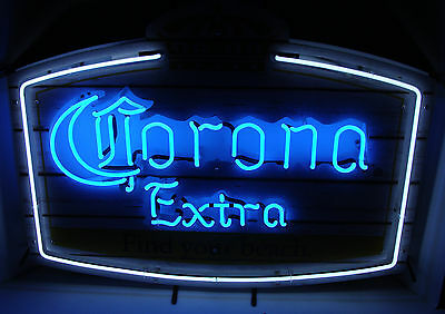 "Corona Extra Find Your Beach Wood Frame 31"" X 24"" 2 Color Neon Sign New"