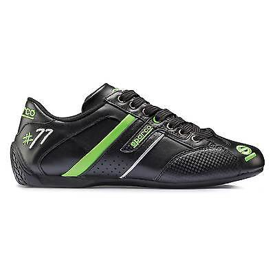 Sparco Time 77 Winter Leather Trainers/Shoes - Black/Green - Size UK 9 / EU 43