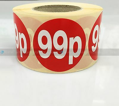 500x 99p RED PRICE SELF ADHESIVE STICKERS STICKY LABELS TAG LABELS FOR RETAIL