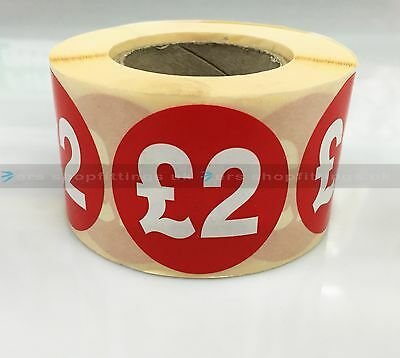 500x £2 RED PRICE SELF ADHESIVE STICKERS STICKY LABELS TAG LABELS FOR RETAIL