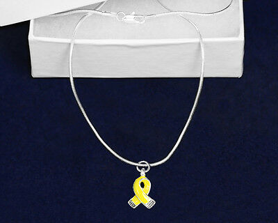 Lot of 12 Yellow Ribbon Necklaces
