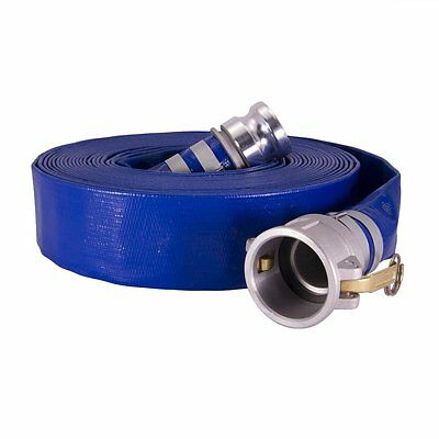 """1-1/2"""" x 50ft Water discharge hose w/Camlock fittings Blue PVC"""