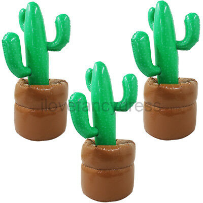 Pack Of 3 Jumbo Inflatable Cactus 96 Cm Mexican Wild West Party Decoration Cacti
