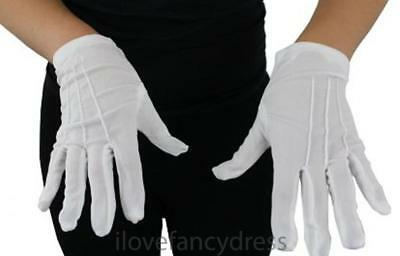 Childs Short White Gloves Magician Fancy Dress Mime Santa Kids Costume Accessory
