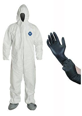 DuPont Disposable White Tyvek TY122 Coverall Suit with Protective Gloves