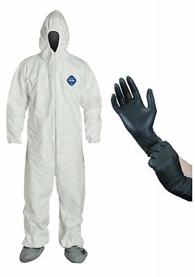 DuPont TY122S Disposable Elastic Tyvek Coverall Suit  with Protective Gloves