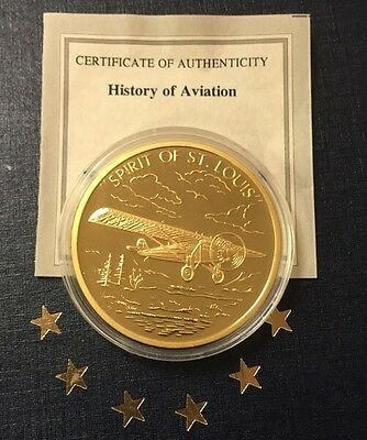 History of Aviation Spirit of St Louis Commemorative Layered in 24K Gold W/COA