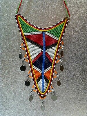 blue red green beads traditional masai warrior leather necklace Kenya African