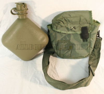 NEW USGI Military 2 QUART COLLAPSIBLE CANTEEN w/ CARRIER / COVER CLIPS AND STRAP