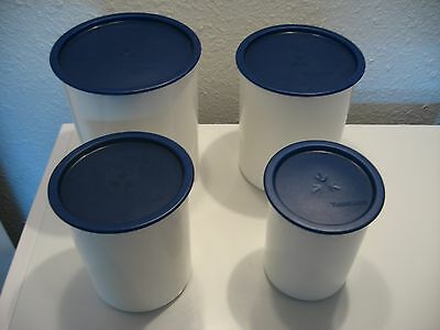 Vintage Tupperware Lot of 4 White Canisters with Blue Lids